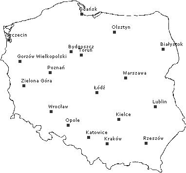 Главные города Польши. Список. Карта. Описание